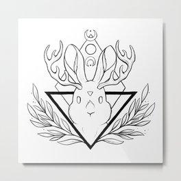 Lunar Rabbit / Jackalope  | Nikury Metal Print