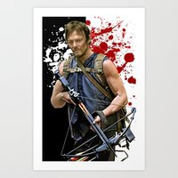 daryl Art Prints featuring Daryl Dixon by SB Art Productions