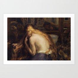 Hymne à la femme - Woman brushing her blonde hair portrait by Auguste Leveque Art Print