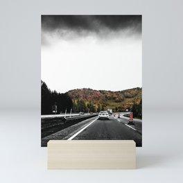 Highway Autumn Drive POV Photograph Color/Black & White Mashup Mini Art Print