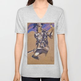 Edward Burne-Jones  - The Perseus Series - Study of Perseus in Armour for The Finding of Medusa Unisex V-Neck