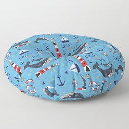 Ocean Blue Whale Blue Floor Pillow