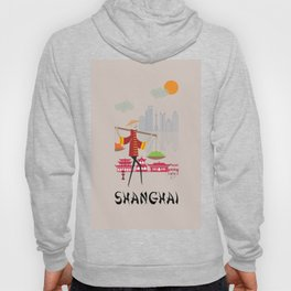 Shanghai - In the City - Retro Travel Poster Design Hoody