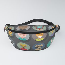 animals faces circle icons set in Trendy Flat Style. zoo Fanny Pack