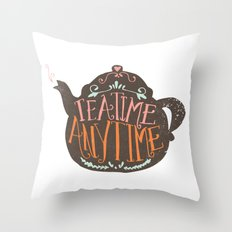 TEA TIME. ANY TIME. - color Throw Pillow