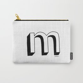 M- Letter Collection White Carry-All Pouch
