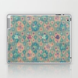Lotus flower - pistachio green woodblock print style pattern Laptop & iPad Skin