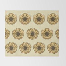 Retro Pop Sunflowers x Pastel Yellow Throw Blanket