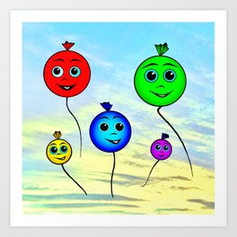 Happy colorful balloons flying in the sky Art Print