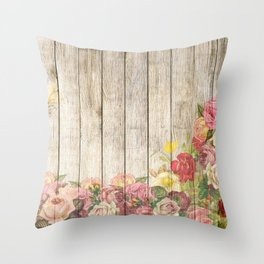 Vintage Rustic Romantic Roses Wooden Plank Throw Pillow