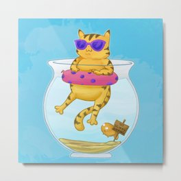 Kitty Dipping Metal Print