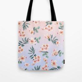 Elegant Pink Blue Japanese Cherry Blossom Gradient Tote Bag