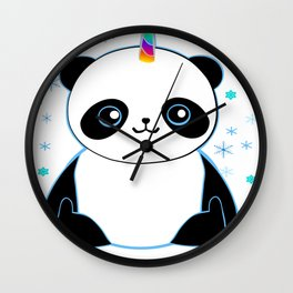 Pandacorn in the Snow Wall Clock