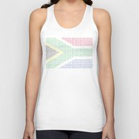 south africa Tank Tops featuring digital Flag (South Africa) by seb mcnulty