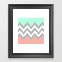 DOUBLE COLORBLOCK CHEVRON {MINT/CORAL/GRAY} Framed Art Print
