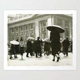 Pedestrians walking in rain in New York City, USA (B&W) vintage photo Art Print
