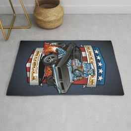 American Muscle Patriotic Classic Muscle Car Cartoon Illustration Rug