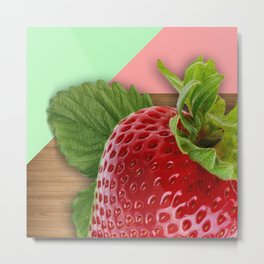 Large Strawberry Wood Geometric Shapes Metal Print