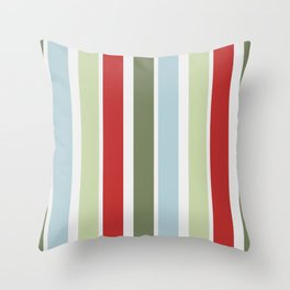 Christmas Stripes Red Blue Green and White Throw Pillow