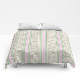 Pink Dogroses on Taupe in Stripes Comforters