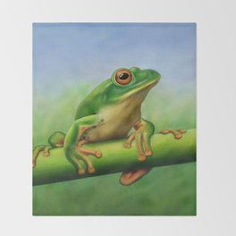 Moltrecht's Green Treefrog Throw Blanket