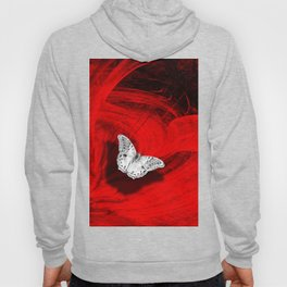 Silver butterfly emerging from the red depths Hoody