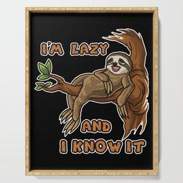 I'm Lazy And I Know It | Sloth Sleeping Animal Serving Tray
