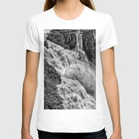 geology T-shirts featuring Black and White Beautiful Waterfall by Wendy Townrow