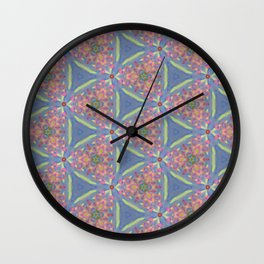 Cornucopia of Colorful Drippy Painted Flowers Wall Clock
