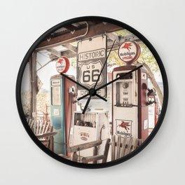 Old Gasstation On Historic Route 66 Photo | Arizona Roads Art Print | USA travel Photography Wall Clock