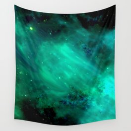 Teal Blue Indigo Sky, Stars, Space, Universe, Photography Wall Tapestry