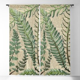 Book Art Page Botanical Leaves Blackout Curtain
