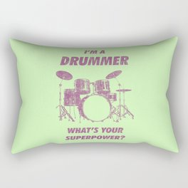 I'm Drummer What's Your Superpower Funny Drums Vintage Drumming Distressed Rectangular Pillow
