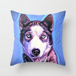 The Siberian Malamute Throw Pillow