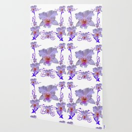 WHITE CATTLEYA ORCHIDS & PURPLE  ART Wallpaper