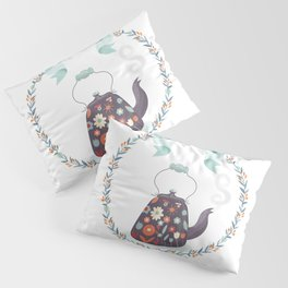 Tea Time Floral Tea Kettle Pillow Sham