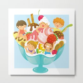 Ice Cream With Kids Metal Print