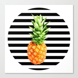 Pineapple, black stripes, kitchen poster, garden poster, rounded Canvas Print