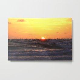 Sun Dropping Below The Horizon At Long Boat Key Metal Print