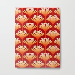 Art Deco Lily, Mandarin Orange and Gold Metal Print