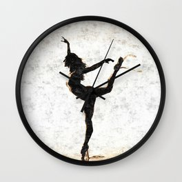 Dancing in white - sexy naked woman, topless ballerina girl, erotic nude artwork, adult art Wall Clock