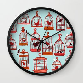 Bird Cages on Blue Wall Clock