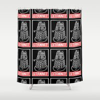 dalek Shower Curtains featuring EXTERMINATE  |  Dalek  |  Dr. Who by Silvio Ledbetter