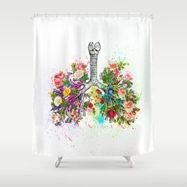 Flowers Lungs Skeleton Watercolor Shower Curtain