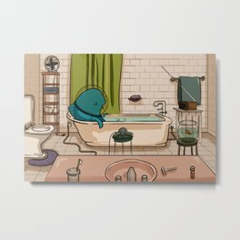 Bath Time After a Long Day Metal Print