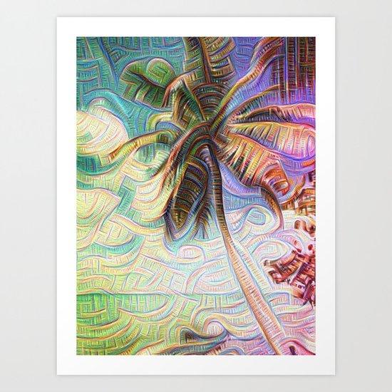 Abstract Rainbow Palm Tree Art Print