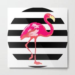 Flamingo, tropical summer t shirt, black and white stripes Metal Print
