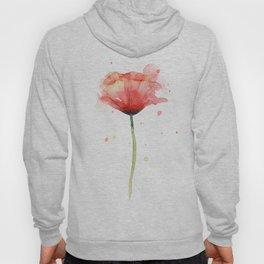 Red Poppy Watercolor Flower Floral Hoody
