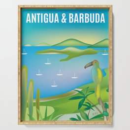 Antigua & Barbuda - Skyline Illustration by Loose Petal Serving Tray