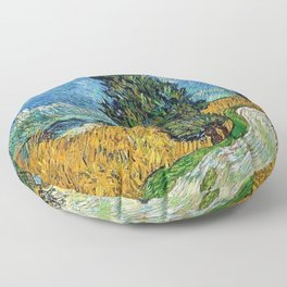 Road with Cypress and Star by Vincent van Gogh Floor Pillow